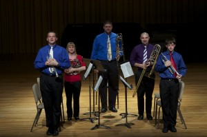 Tim Grev, trumpet (far right) with Christ Chapel Brass