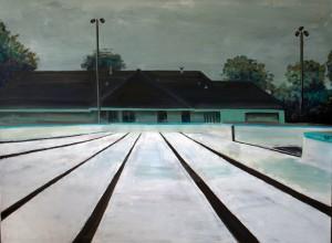 """Public Pool."" Cameron A. Jarvis. acrylic on canvas. 30"" x 40"""