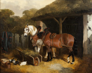 TWO HARNESSED CART HORSES, 1853 John Frederick Herring, Sr. (British, 1795-1865) Oil on canvas 28 ¼ x 36 inches Collection of Dr. Stephen and Mrs. Martha Penkhus