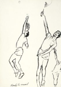 LeRoy Neiman (1921-2012), Ready to Uncoil, c. 1990, felt pen on paper, 13 1/8 X 9 1/4 inches