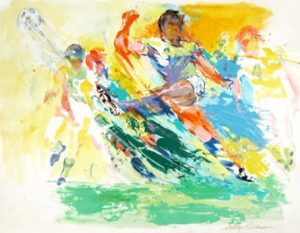 LeRoy Neiman (1921-2012), Soccer Players, 1986, acrylic and watercolor on paper, 22 1/8 X 28 3/4 inches